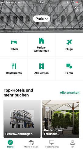 Screenshot aus der Tripadvisor-App