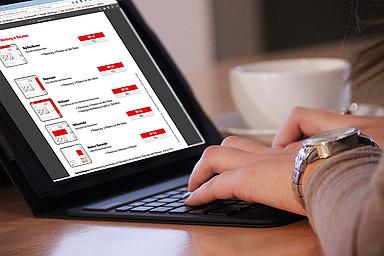 Person sucht am Laptop nach Online-Werbeformen